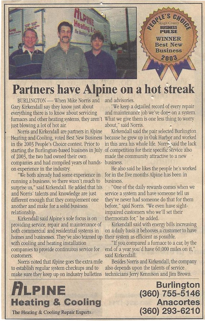 Alpine Wins Best New Business. 2003